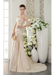 Simple Champagne Strapless Mature Bridal Gowns with Train IMG_9490