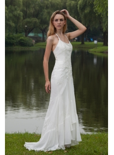 ... Simple Halter Beach Wedding Dresses Gowns With High Low Hem IMG_7791 ...