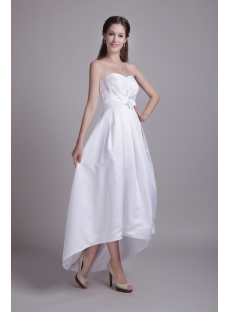 Simple High-low Hem Beach Empire Bridal Gown for Large Size IMG_0655