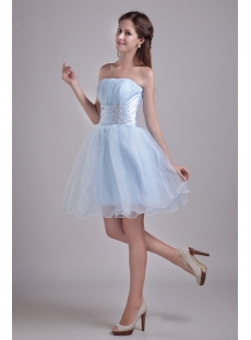 Sky Blue Strapless Mini Sweet 16 Dress 0914