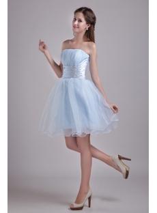 Sky Blue Strapless Mini Sweet 16 Dress 0914