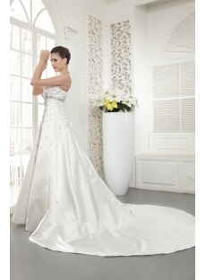 Strapless Haute Empire Princess Bridal Gown with Lavender Sash IMG_5494