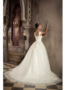Straps Romantic Lace Ball Gown Wedding Dress with Corset GG1029