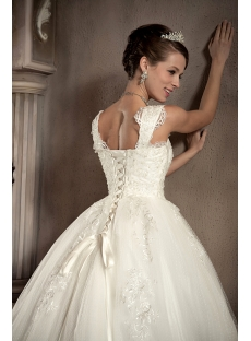 Straps Romantic Lace Ball Gown Wedding Dress With Corset