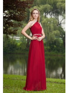 Stylish Burgundy One Shoulder Formal Evening Dress Long IMG_7719