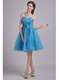 Teal Blue Sweetheart Cocktail Dress Short 0923