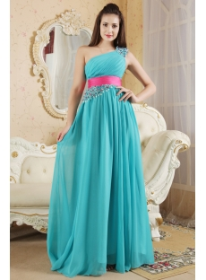 Teal and Hot Pink Pretty Prom Dress with Train IMG_5382