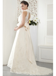 Unique High Neckline Modest Count Wedding Dresses with Keyhole IMG_5445