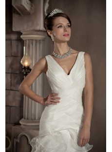 V-neckline Sheath Mature Vintage Wedding Dresses GG1093