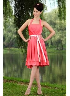 Walter Melon Halter Simple Beach Bridesmaid Dress with Knee Length IMG_0849