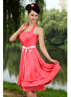 Walter Melon Halter Simple Beach Bridesmaid Dress with Knee Length IMG_0849