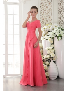 Water Melon Long Vintage Evening Dress with Short Sleeves IMG_9473