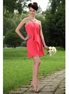Water Melon Short Graduation Dress with Spaghetti Straps IMG_0935