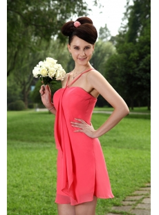 Water Melon Short Graduation Dress with Spaghetti Straps IMG_0935