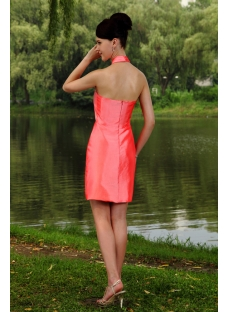 Water Melon Unique Halter Modest Bridesmaid Dress Mini Length IMG_0900