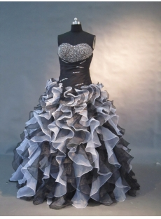 White And Black Floor Length Satin Organza Quinceanera Dress 1499