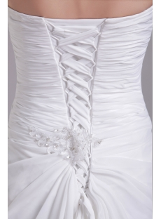 White Chiffon Slit Front Elegant Wedding Dress for Beach 1037