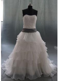 White Court Train Organza Plus Size Wedding Dress 06880