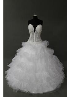 White Floor-Length Satin Organza Quinceanera Dress IMG_0201