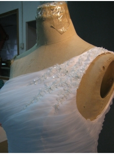 White One Shoulder Organza Quinceanera Dress IMG_1989