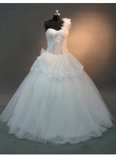 White Satin Tulle One Shoulder Quinceanera Dress 2039