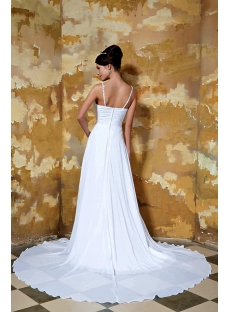 White Spaghetti Straps Sexy Outdoor Bridal Gown GG1043