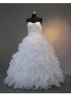 White Strapless Sweetheart  Organza Quinceanera Dress IMG_1995