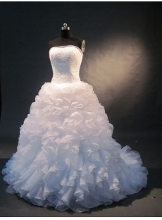 White Sweetheart Satin Organza Plus Size Wedding Dress 1496