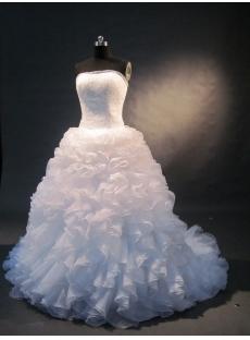 White Sweetheart Satin Organza Plus Size Wedding Dress 1496