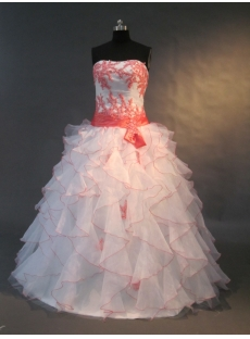 White Sweetheart Satin Organza Quinceanera Dress 1509