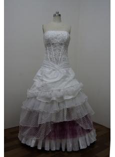 White Taffeta Sweetheart Satin Lace Ball Gown 2860