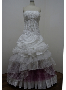 White Taffeta Sweetheart Satin Lace Ball Gown 2860