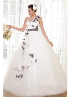 White and Purple Floral One Shoulder Colorful Quinceanera Dresses IMG_5600