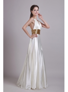 White with Gold Beads Beach Bridal Dress 0786