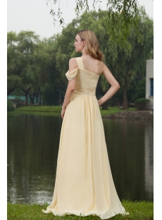 Yellow Long One Shoulder Plus Size Prom Gown IMG_7768