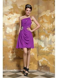 violet Asymmetrical Short Graduation Gown for Grade 8 GG1055