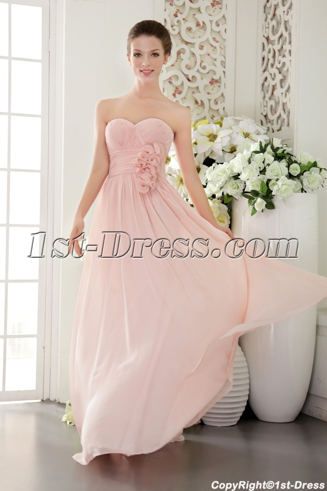 Beautiful Chiffon Pearl Pink Prom Gown 2012 IMG 9518 Loading Zoom
