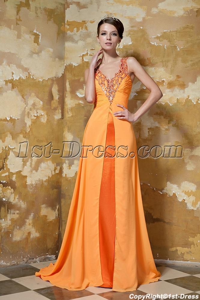 Beautiful Long Orange Graduation Dress with Train GG1041:1st-dress.com