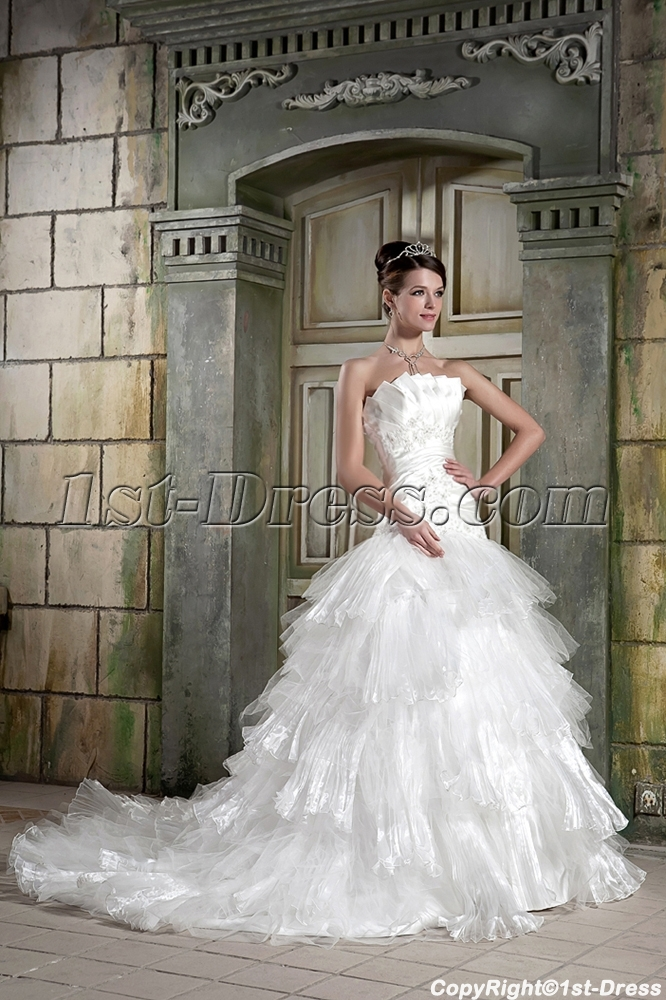 Beautiful White Masquerade Ball Gown Wedding Dress GG1082 Loading Zoom