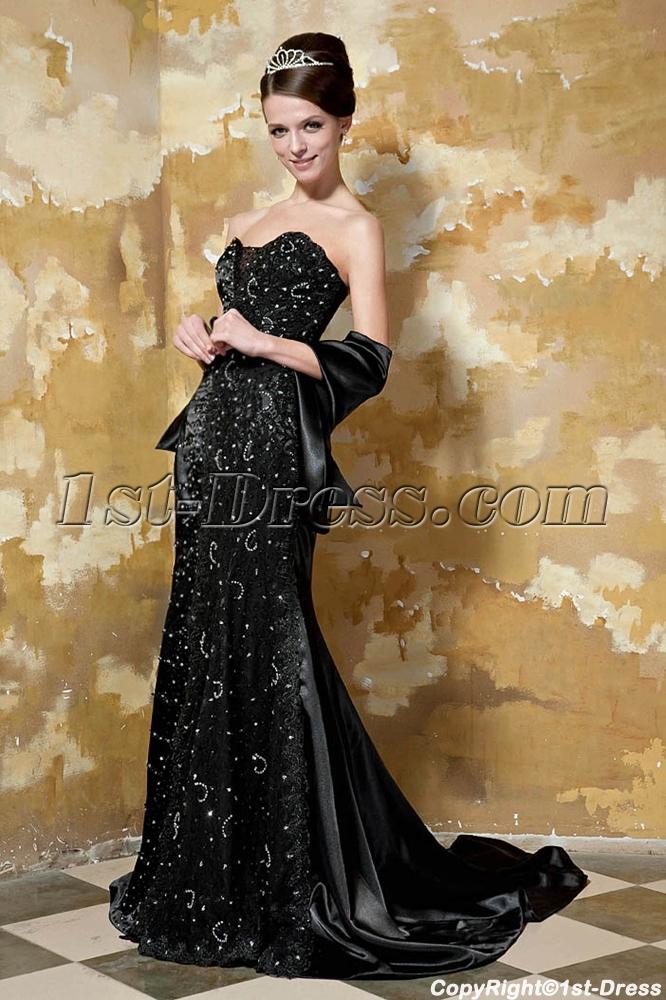 Luxurious Black Sweetheart Long Evening Gown GG1047:1st-dress.com