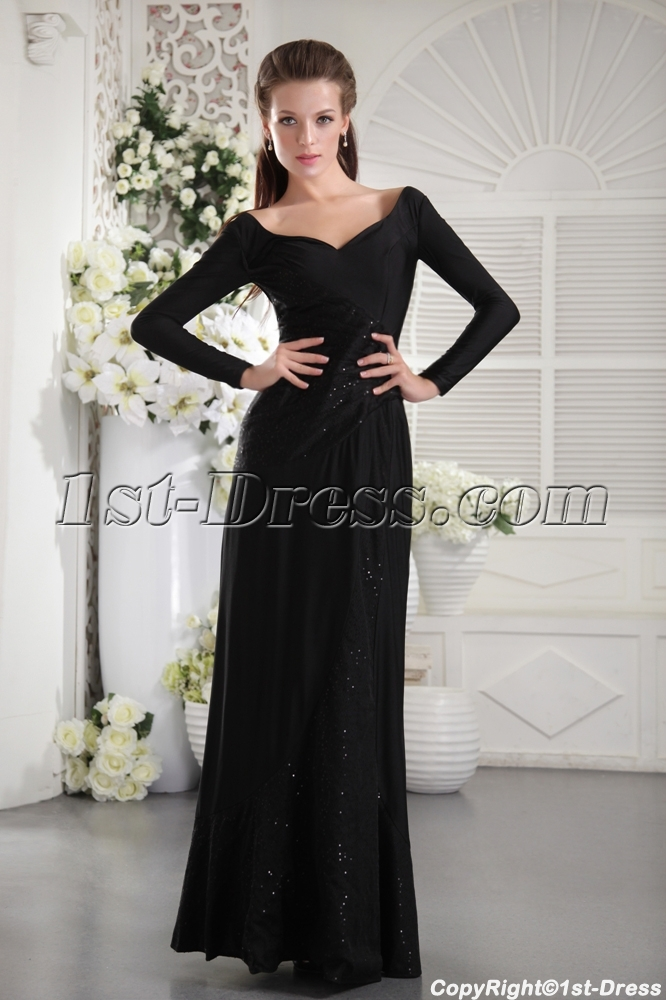 Black Long Sleeves Modest Evening Dress IMG_9904:1st-dress.com