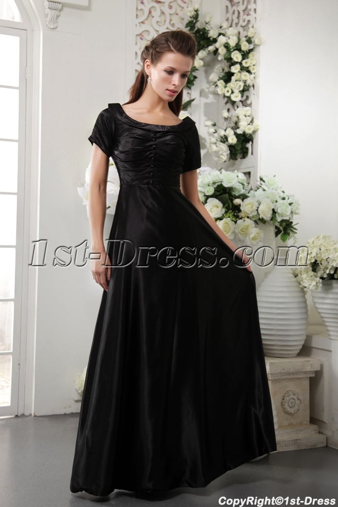 Black Modest Bridesmaid Dress with Sleeves IMG_0269:1st-dress.com