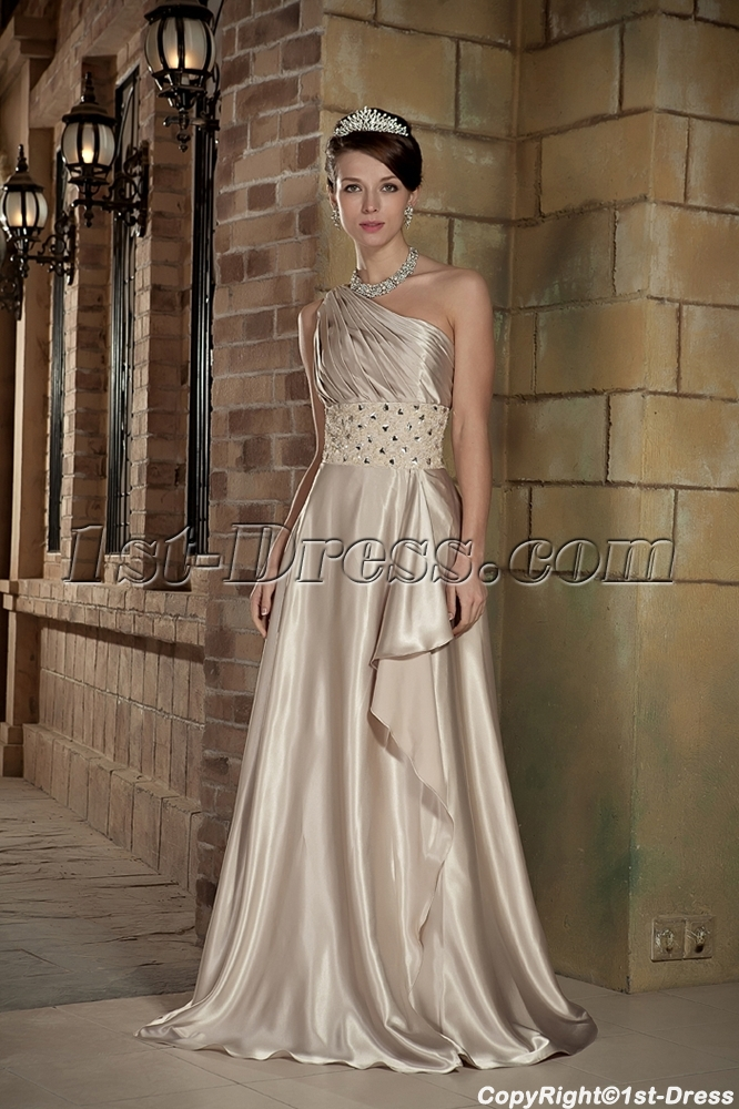 Champagne One Shoulder Military Ball Prom Dresses with Shawl GG1008 ...