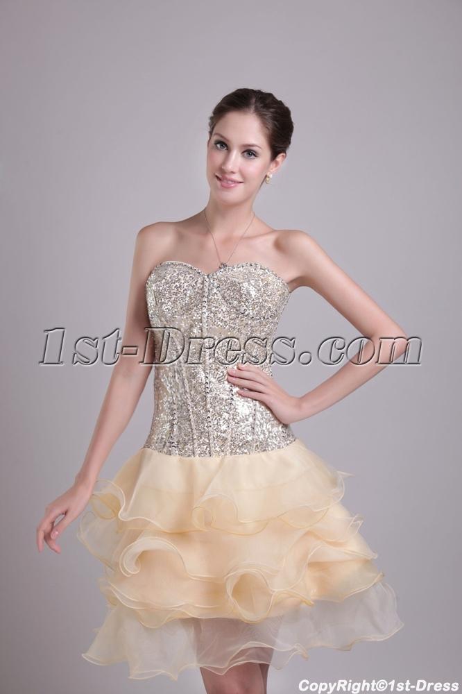 Champagne Sequins Junior Short Prom Gown 0985:1st-dress.com