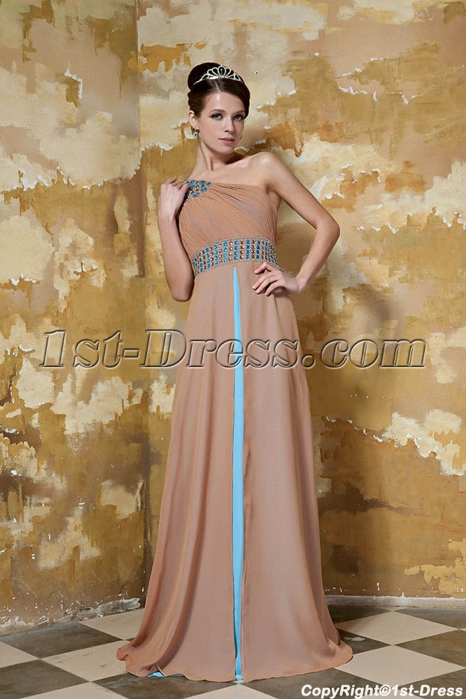 Champagne and Blue Long One Shoulder Modest Evening Dress with Shawl ...