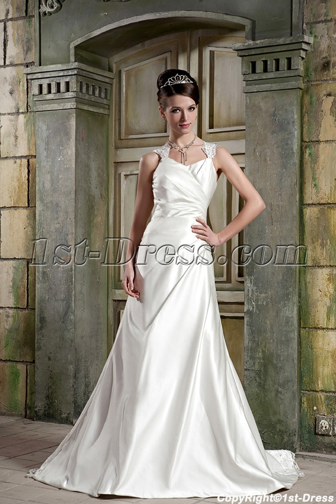 Cheap long satin simple garden wedding dress 2012 with for Simple inexpensive wedding dresses