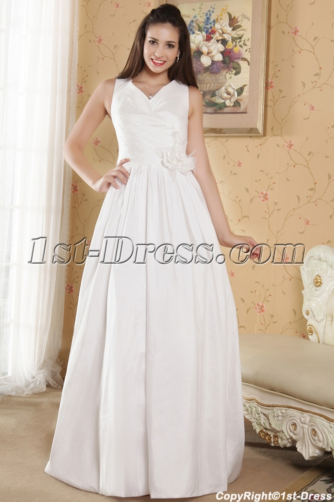 Cheap v neckline casual wedding dresses for outdoor for Wedding dresses for outside