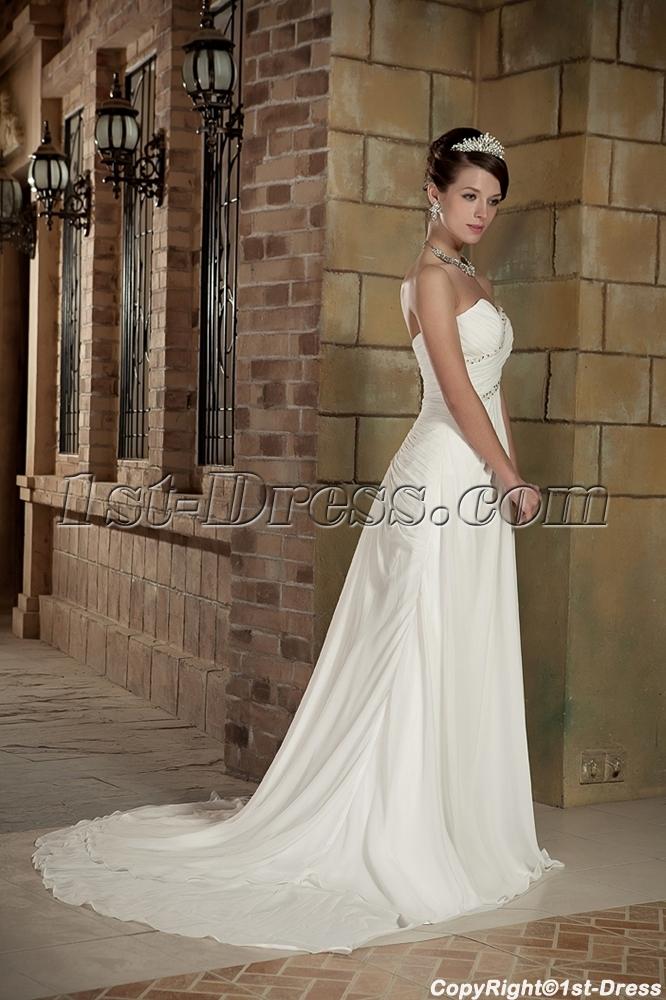 Chiffon Sweetheart Beach Wedding Dress Mature Bride GG1007:1st-dress.com