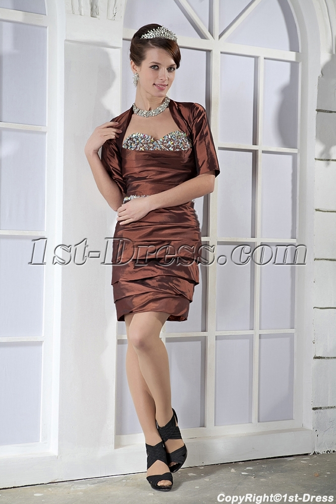 Chocolate Winter Cocktail Dress with Sleeves Jacket