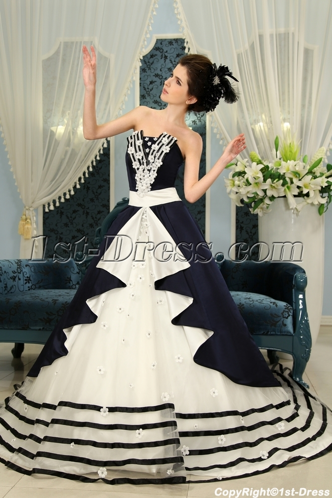 Dark navy floor length taffeta quinceanera dress f 127 1st for Free wedding dresses for military brides